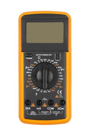 ampere: Digital multimeter isolated on white background Stock Photo