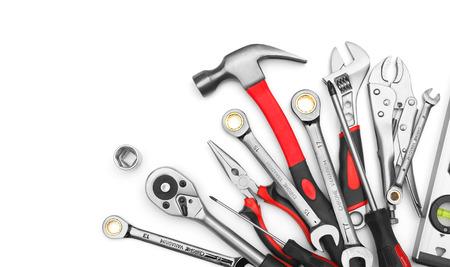 mantenimiento: Muchas de las herramientas en el fondo blanco