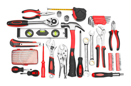 mechanic tools: Many Tools isolated on white background Stock Photo