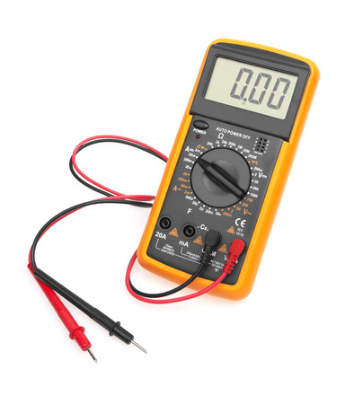 ohm: Digital multimeter isolated on white background Stock Photo