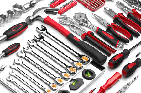 Many Tools on white background photo