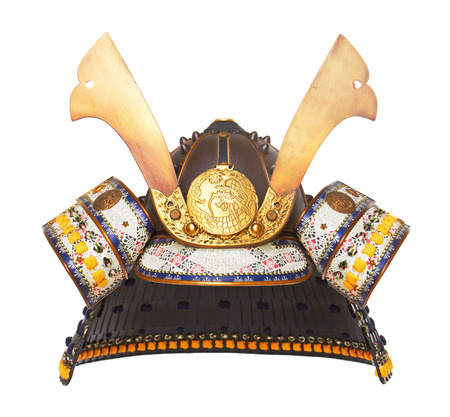 bushido: Samurai Helmet isolated on wood background