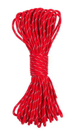 Rope isolated on white background. Parachute cordage Фото со стока