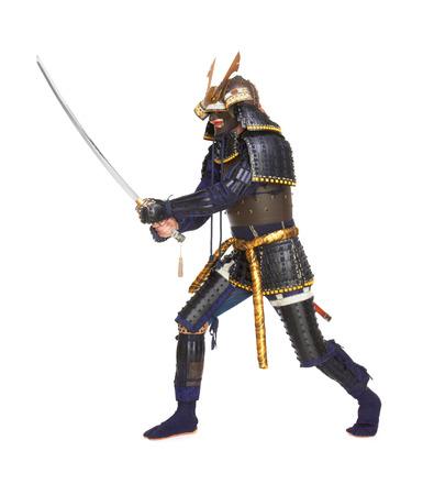 samourai: Samouraïs dans l'armure, isolé sur fond blanc Banque d'images