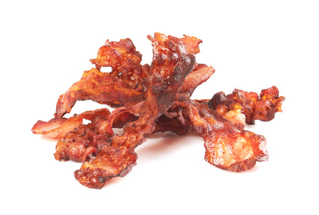 bacon fat: Slices of bacon, isolated on a white background Stock Photo