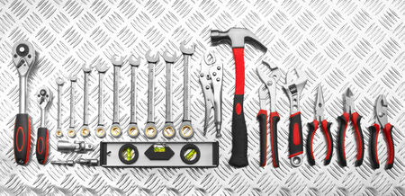 chrome vanadium: Many Tools on metal background