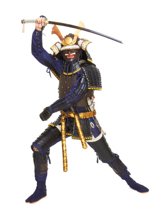 samurai: Samurai in armor, isolated on white background