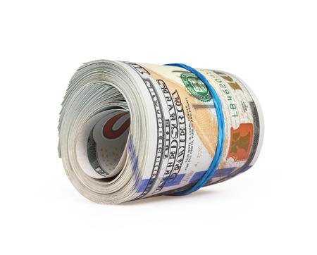 american money: Dollars isolated on white background Stock Photo