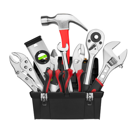 Many Tools in tool box, isolated on white background Stok Fotoğraf
