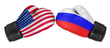 Russia vs USA. Boxing gloves with USA and Russia flag. Isolated on white. photo