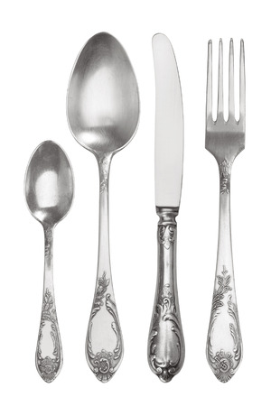 Cutlery set with vintage Fork, Knife and Spoons, isolated on white