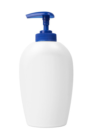 rinse: Plastic bottle of shampoo, conditioner, hair rinse, gel, isolated on a white background