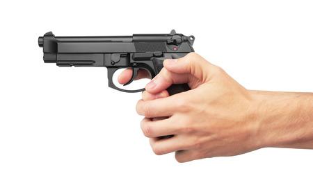 hand gun: Semi-automatic gun in hand, isolated on white background