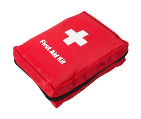 emergency kit: First Aid Kit, isolated on white background