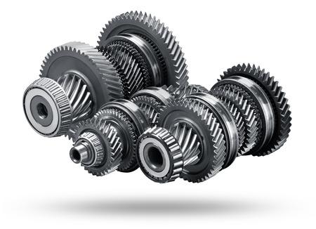 Gear metalen wielen, geïsoleerd op een witte achtergrond Stockfoto