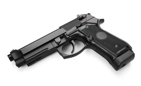 Semi-automatic gun isolated on white background photo