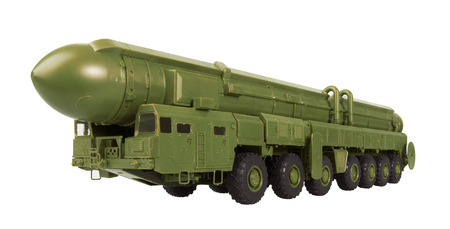 intercontinental: Intercontinental ballistic missile Topol-M, isolated on a white background. Model