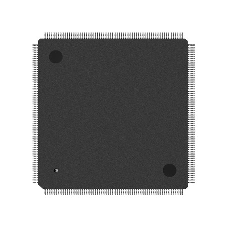 processor: Closeup of electronic processor, isolated on white Stock Photo