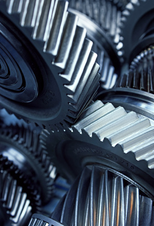 automobile industry: Gear metal wheels close-up