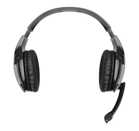 headset voice: Headphones with a microphone isolated on white background Stock Photo