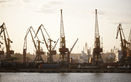 substructure: View on the port with loading cargo ship