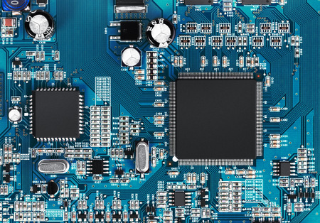 Electronic circuit board with processor, close up. Stok Fotoğraf - 37633689