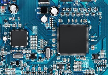 Elektronische Leiterplatte mit Prozessor, aus nächster Nähe. Standard-Bild - 37633689