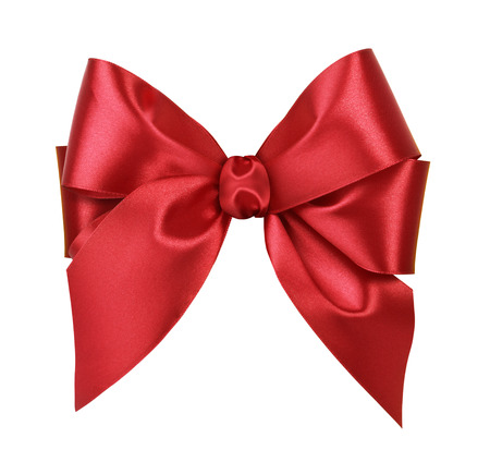 Red satin gift bow. Isolated on white background Foto de archivo