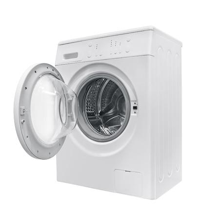 white metal: Washing machine isolated on white background