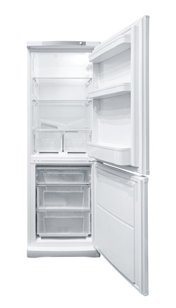 refrigerator with food: Opened Refrigerator isolated on white background