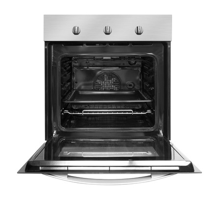 Electric oven with open door, isolated on white background.