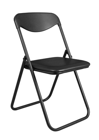room for text: Black folding chair isolated on white background