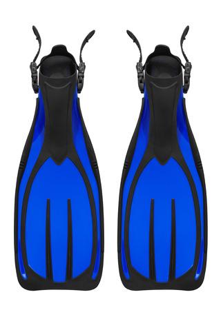 flippers: Aletas de buceo aislados en fondo blanco