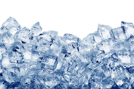 freezer: Ice cubes isolated on white background