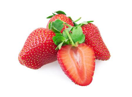 nutrientes: Fresas aisladas sobre fondo blanco