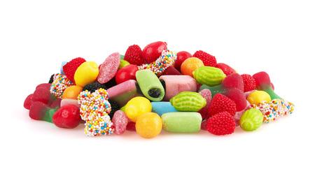 candies: Caramelo colorido dulce, aislado en fondo blanco. De cerca Foto de archivo