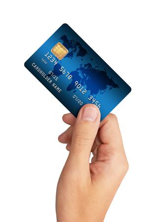 クレジット カードを手に、白い背景で隔離 写真素材