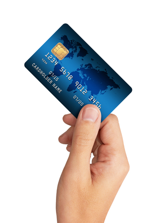 card commerce: Credit Card in hand, isolated on white background Stock Photo