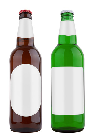 the drinker: Bottles with label, isolated on white background Stock Photo