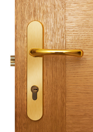manejar: Maneta de puerta en puerta de madera natural,