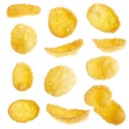 mazorca de maiz: Copos de maíz aislados en el fondo blanco