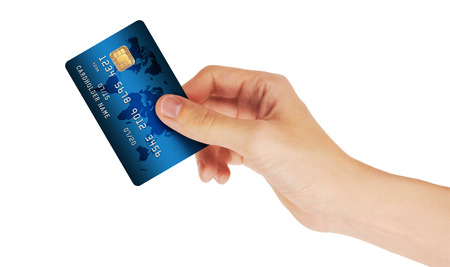 Credit Card in hand, isolated on white background 版權商用圖片