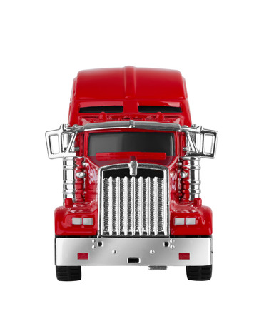 semi: Red american truck isolated on white background. Model.