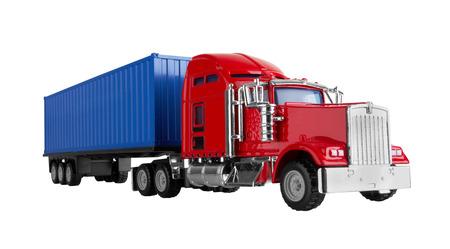 camion: Camiones con carga de contenedor aislado sobre fondo blanco. Modelo.