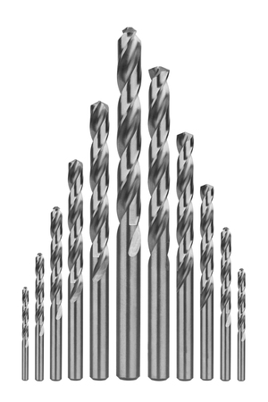 bits: Drill bits of different sizes, isolated on white background Stock Photo