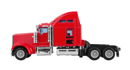 hauler: Red american truck isolated on white background. Model.