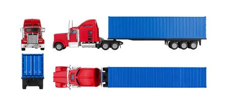ciężarówka: Ciężarówka z ładunku kontenera samodzielnie na białym tle. Model.