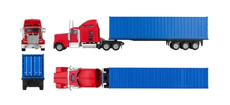 semi: Truck with cargo container isolated on white background. Model.
