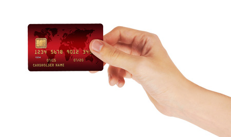 Credit Card in hand, isolated on white background Stok Fotoğraf