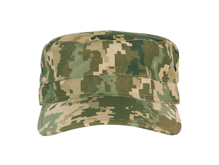 headgear: Army camouflaged cap, isolated on white background